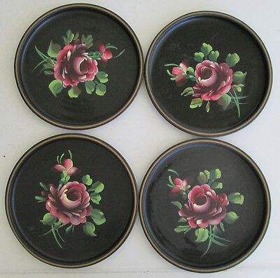 Vintage Nashco NY Hand Painted Metal Toleware Tole Plates with Roses