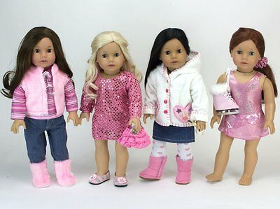 "Sophia Doll Clothes Pink 4 Outfits Set Fits 18"" American Girl Type Doll, Save!"