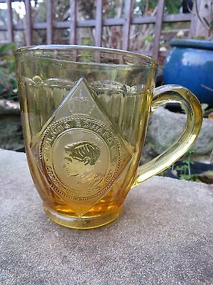 Original relief molded amber glass Edward VIII coronation mug. 1937