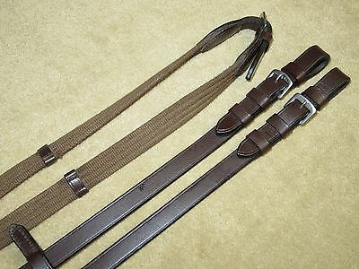 LIGHT USE~Lovely & NICE QUALITY English Brown Leather & Web Reins w/Handstops!