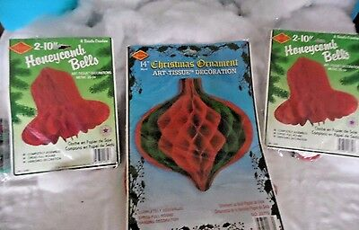 5 Vtg Honeycomb Beistle Tissue Paper Bells & Decoration~Red & Green NIB 1992 USA