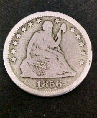 1856 25C Liberty Seated Quarter VG-VF details!  LOOK!!