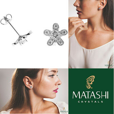 4fc5ed3ade88a 18K White Gold Plated Stud Earrings w   5 Petaled Flower    Crystals by