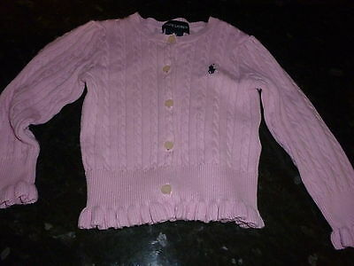 Baby Girl Authentic Pink Ribbed Ralph Lauren Cardigan. 2 Years. Exc Cond