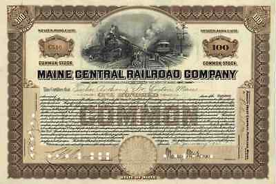 Maine Central Railroad 1920 Maine New Hampshire Vermont 100 Shares Common Stock