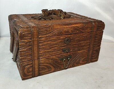 Superb Antique Black Forest Carved Wood Cabinet Box Smoking Cigar Jewellery