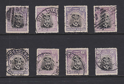 Rhodesia- 1913/22 Admiral 6d -Selection of 8 various shades & postmarks - #026