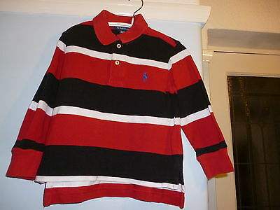 Red/navy & White Striped Ralph Lauren Collared Polo Shirt. Blue Pony. 2 Years.
