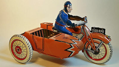 SFA PARIS Vintage Tin MOTORCYCLE Sidecar Toy made in FRANCE Near MINT 1950's!