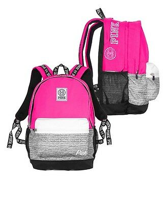 Victorias Secret PINK CAMPUS BACKPACK NEON HOT PINK / GRAY MARL - 2016 - NWT