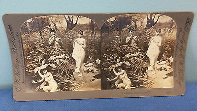 EW Kelley Publisher Stereoview Stereoscope A Serious Misadventure 4075 Nude Sexy