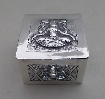 Antique solid silver Indian swami snuff / trinket box - signed