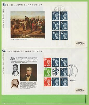 G.B. 1989 Scots booklet pane set Royal Mail First Day Covers (4) diff cancel