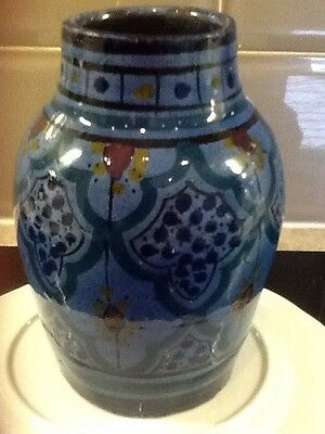 eathenware victorian vase high depth finish hand decorated bought in Barnstable