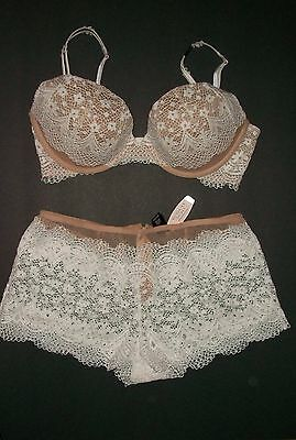 0f8cf343bc924 NWT Victoria Secret Very Sexy Crochet Lace Push Up Bra Shortie Panty Set  34D S