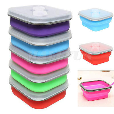 Collapsible Potable Plastic Lunch Bento Box  Food Storage Container +Spoon