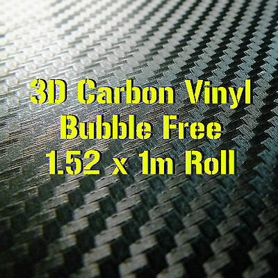 3D Textured Black Carbon Fibre Vinyl 1.52 x 1m Roll - BUBBLE/AIR FREE Car Wrap