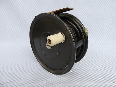"Vintage Bernard Of Pall Mall London 4"" Salmon Fly Fishing Reel + Silk Line."