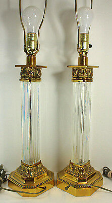 Vintage Pair Glass Brass Tall Column Table Lamp Hollywood Regency Mid Century