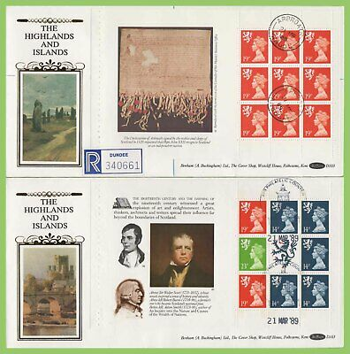 G.B. 1989 Scots booklet pane set Benham First Day Covers (4) diff cancels