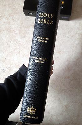 LOOK! Authorized (KJV) Cambridge Wide-Margin Reference Bible Black Calf Leather