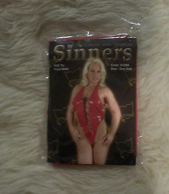 Sinners - Womens Pvc Tie Front Body - Red Or Black - One Size