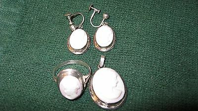 Vtg Deco Pink Angelskin Carved Cameo Pendant Earrings & Ring Set Great Gift