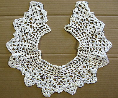 "Vintage HAND CROCHETED Bright White DRESS COLLAR -15 1/2"" Neck"