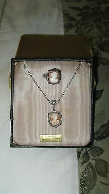 Deco Sterl Silver Filigree Carved Shell Cameo Lavalier Necklace Ring Make  Offer