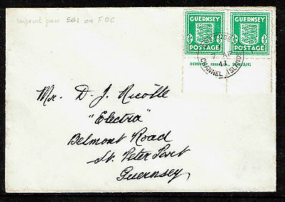 GB KGVI GUERNSEY WWII ½d Pair IMPRINT FDC 1941 SG1