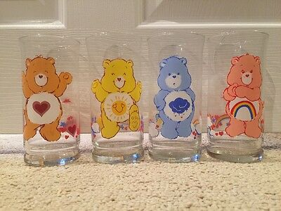 Set of 4 Vintage Care Bears Limited Edition Collector Glasses Pizza Hut 1983