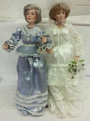 "Danbury Mint ""WEDDING DAY FINAL TOUCHES"" Mother & Daughter Porcelain Dolls"