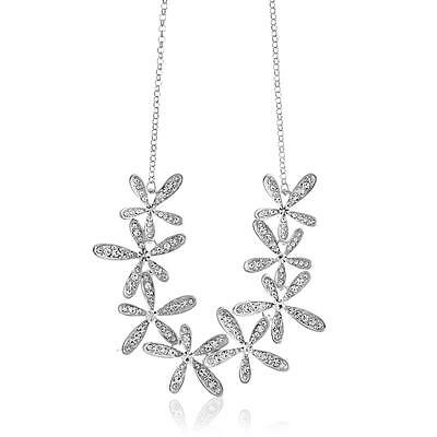 """Rhodium Plated Necklace w/ Flowers & 12"""" Extendable Chain w/ Crystals by Matashi"""