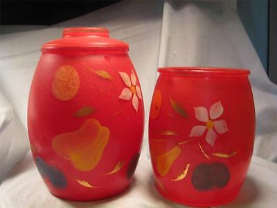 Vintage Hand painted-Red with flower Cookie Jar/Dresser Jar/Canister