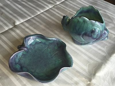 Vintage 1930s Knowles Taylor Knowles KTK California Pottery Fish Lily Pad Set