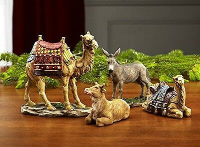 """Three Kings Gifts 14"""" Christmas Nativity Animal Figurines Deluxe Set"""