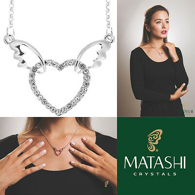 "16"" Rhodium Plated Necklace w/ Winged Heart Design & Crystals by Matashi"