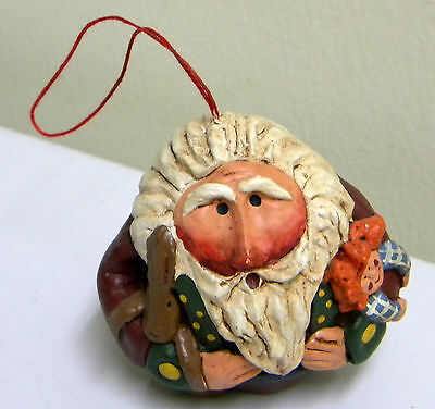 Roly Poly Santa with Raggedy Annie & Rabbit signed RJ EUC