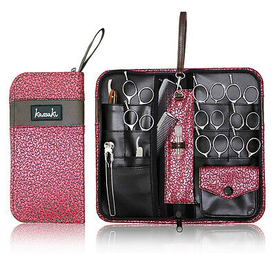Kassaki Hairdressing Scissors Case Pink Design for Shears and Combs can hold 12