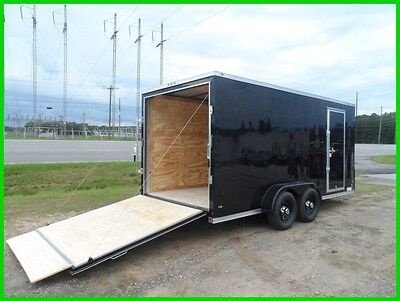 2017 7x16 2' v nose Blackout 16ft inside enclosed cargo motorcycle Black out New