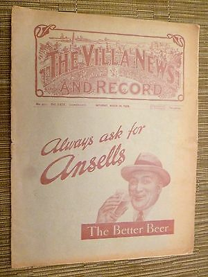 1933/34 CENTRAL LEAGUE: ASTON VILLA RESERVES v BLACKPOOL RESERVE S - 24th March