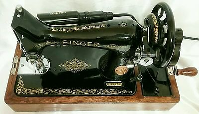 1950 Hand Crank 99k Singer Sewing Machine, Case, Keys, Manual & Accessories