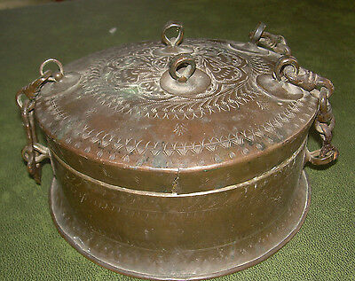 1850s Indian Antique Hand Crafted Copper Betel Nuts Box