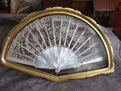 Antique 19th Century Lace Fan Mother of Pearl in Antique Gold Frame Box
