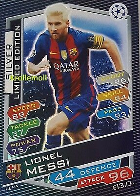 Match Attax 2016/17 Lionel Messi LEPA limited Edition Champions League silver 17