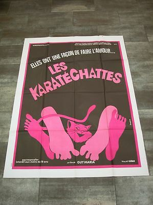 LES KARATECHATTES P. Cuny 1975 Affiche Originale 120x160 Genuine Movie Poster