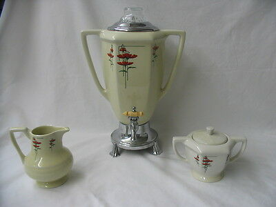 Royal Rochester Fraunfelter ART DECO Red Poppy Coffee Pot Set Service WORKS!!