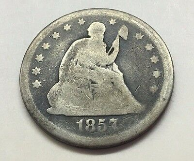 1857 Seated Liberty Quarter Silver U.s. Coin * Free Bubble Shipping