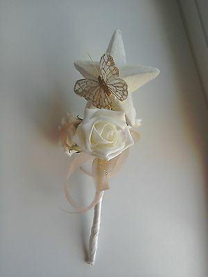 Flower Girl/Bridesmaid  ivory star/ivory/gold Butterfly  ivory rose Fairy Wand