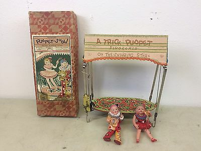 Vintage 1930's Celluloid Trick Puppet Pinocchio Swinging Stage Mechanical Toy